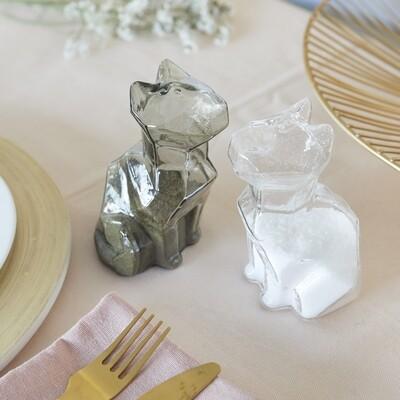 Sel poivre chat en verre