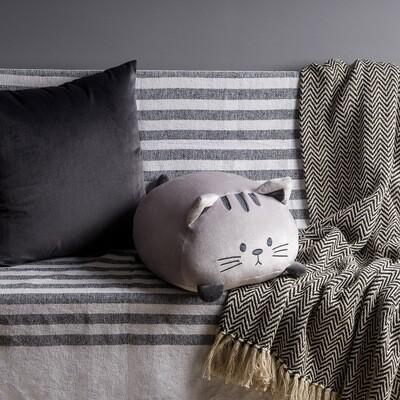 Coussin chat douillet gris