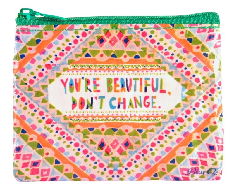 Petite pochette à monnaie zippée You're are Beautiful don't change