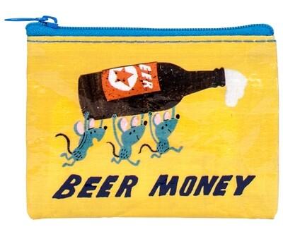 Petite pochette à monnaie zippée Beer money
