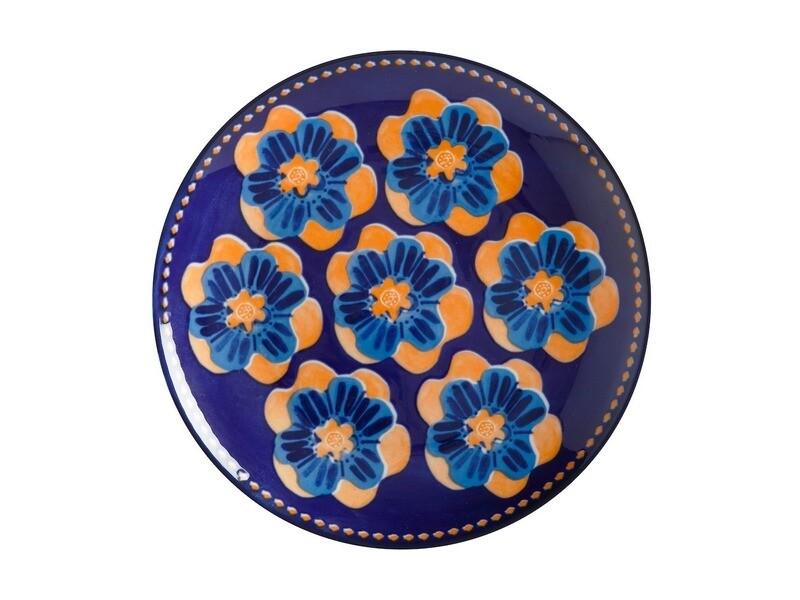 Assiette 20cm bleu foncée avec fleurs oranges Majolica