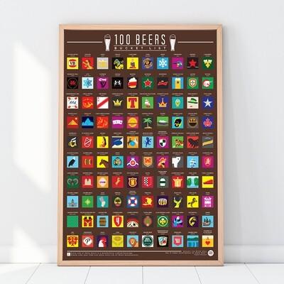 Poster à gratter 100 bière autour du monde
