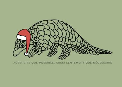 Carte postale Particules -  Pangolin de Noël - aussi vite que possible mais aussi lentement que nécessaire