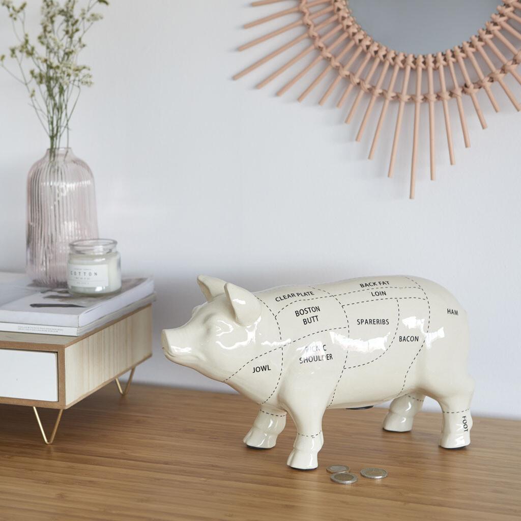 Tirelire cochon de boucherie en porcelaine ♥️