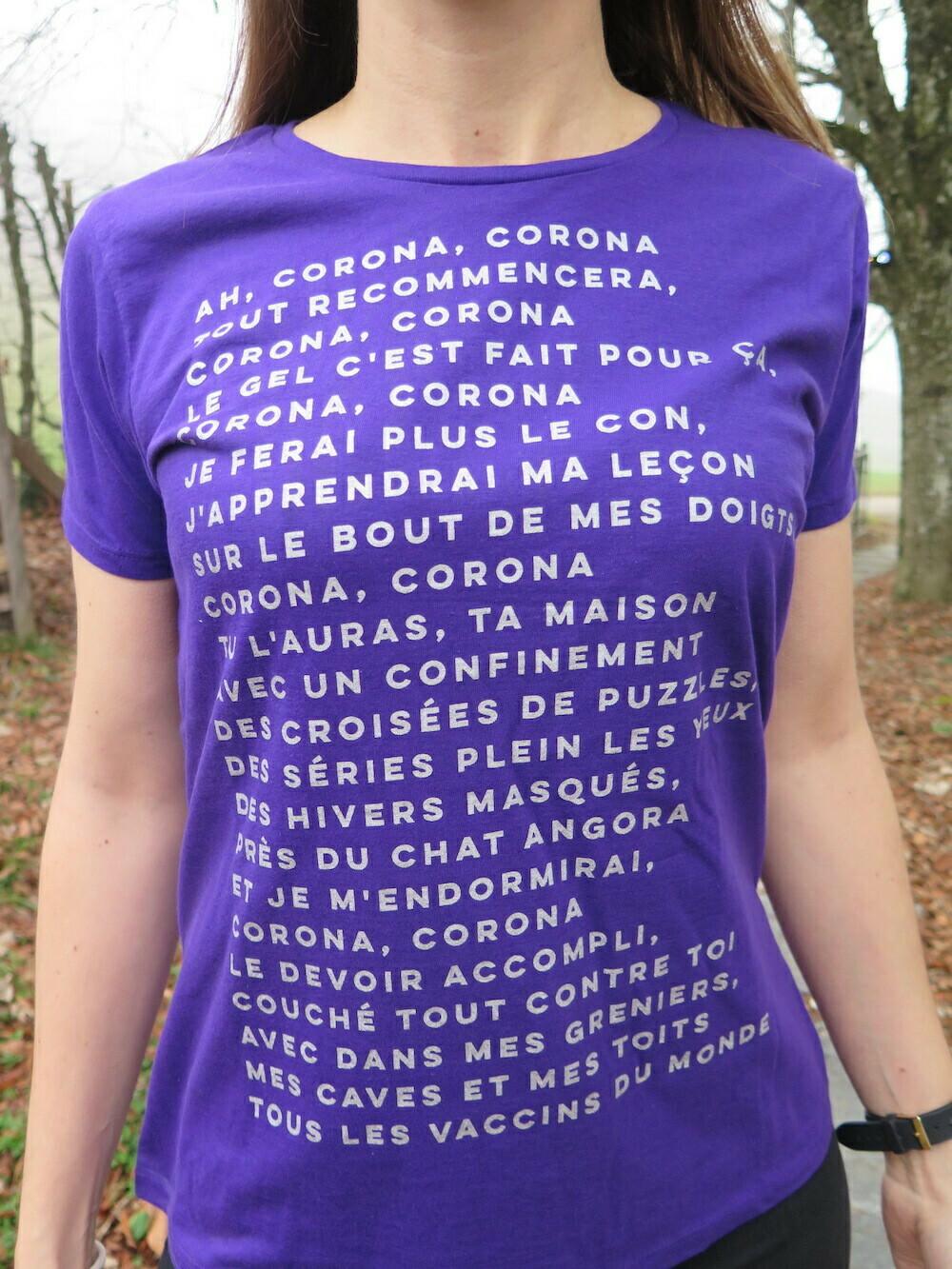 T-Shirt Particules Femme - Ah corona, corona, tout recommencera, corona, corona... 🎶