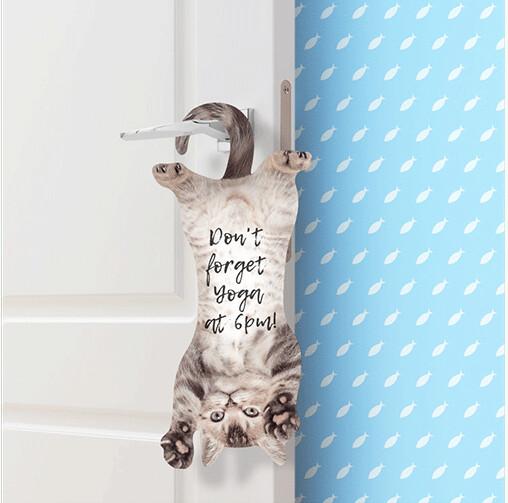Mémo en forme de chat pour accrocher à la poignée de votre porte