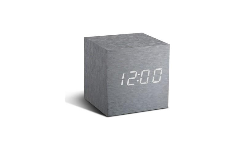 Réveil cube alu brossé led blanc