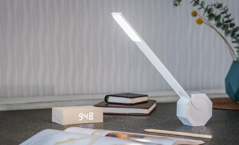 Lampe de bureau portable Octogone blanche