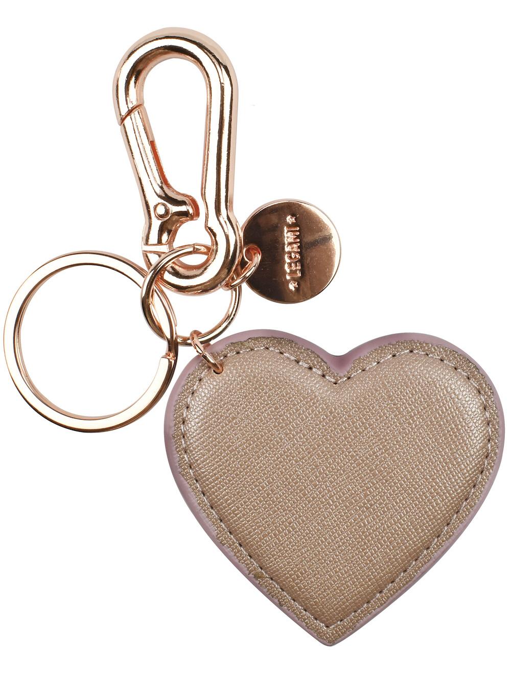 Porte-clé cœur rose en cuire