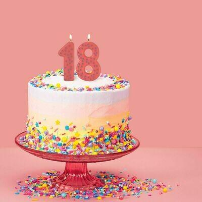 Bougie d'anniversaire de 0 à 9 - rose