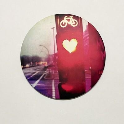 Magnet feu rouge d'amour 7.5 cm x 7,5 cm