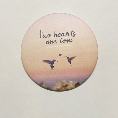 Magnet two hearts one love 7.5 cm x 7.5 cm