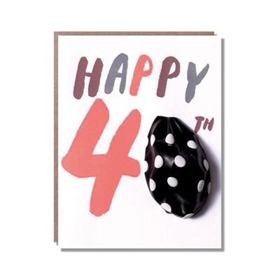 Carte de vœux Happy 40 - avec un ballon