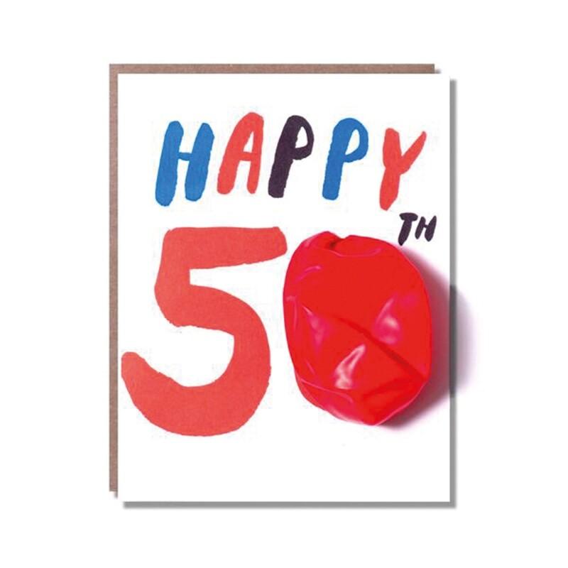 Carte de vœux Happy 50 - avec un ballon