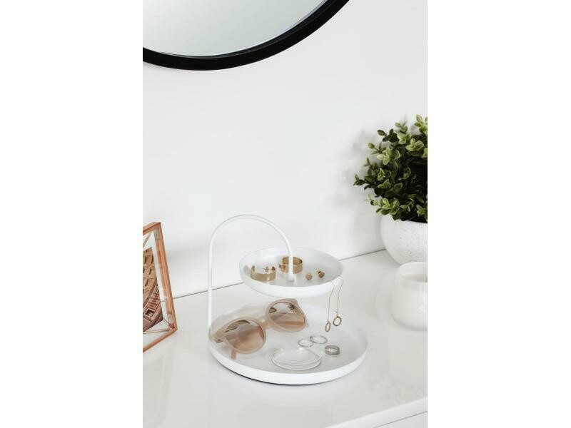 Porte-bijoux ou vide-poche à plateaux blanc