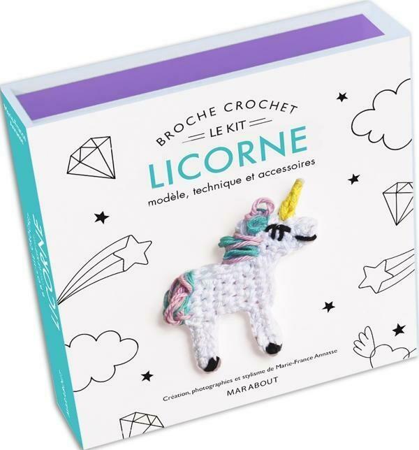 Coffret - Le kit broche crochet licorne