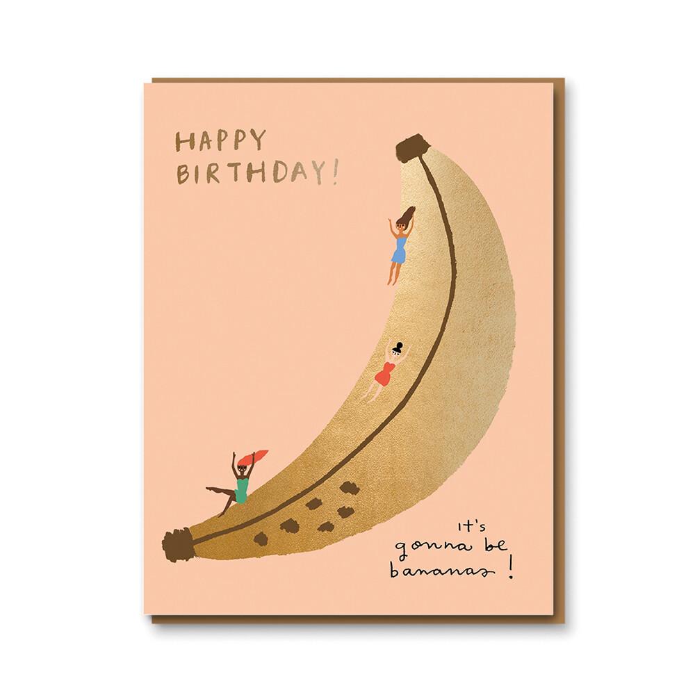 Carte double avec enveloppe - Happy Birthday It's gonna be bananas