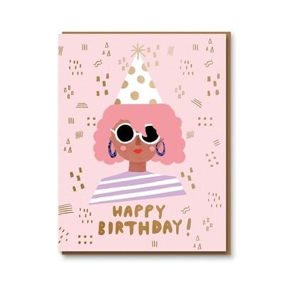 Carte double avec enveloppe - Happy Birthday Pink Girl
