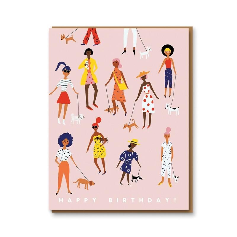 Carte double avec enveloppe - Happy birthday - Femmes et chiens