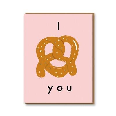 Carte double avec enveloppe - I love you - bretzel