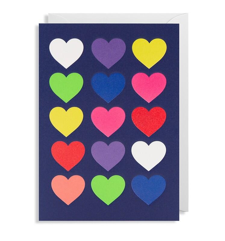 Carte double avec enveloppe - cœurs colorés