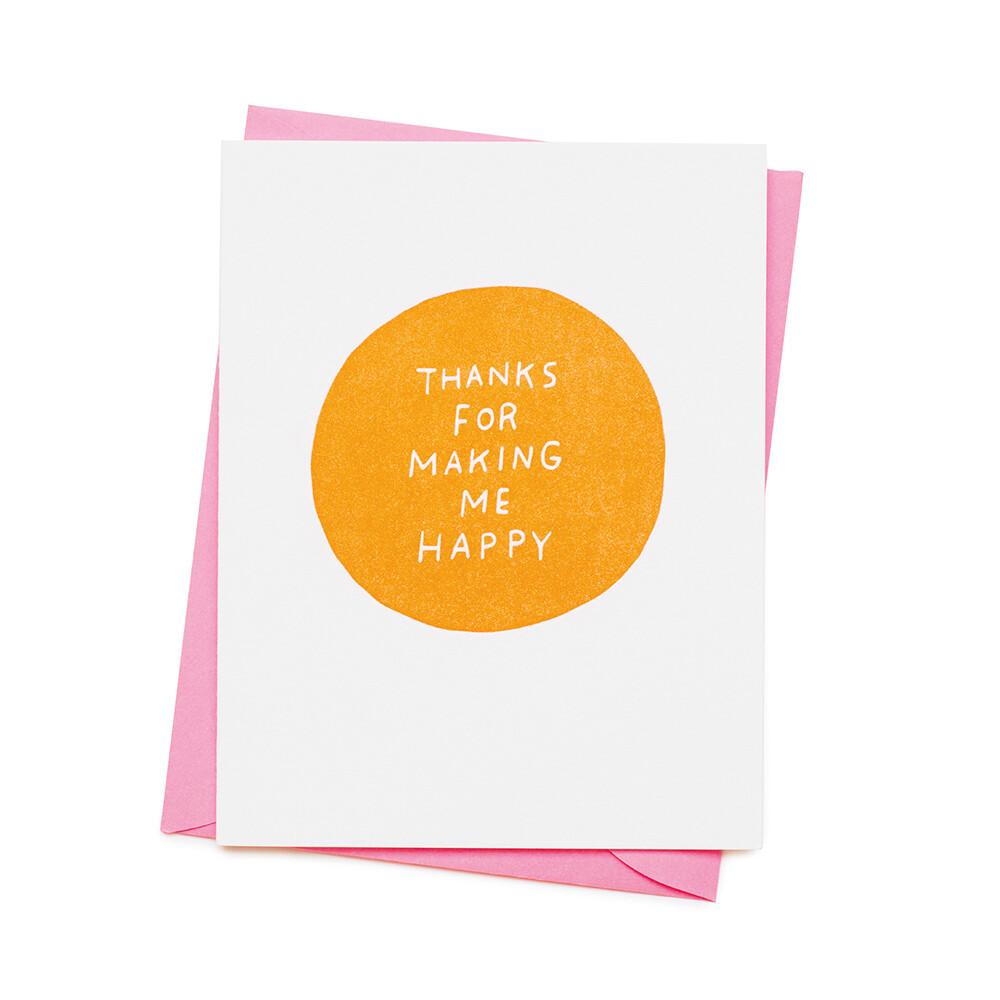 Carte double avec enveloppe - Thanks for making me happy