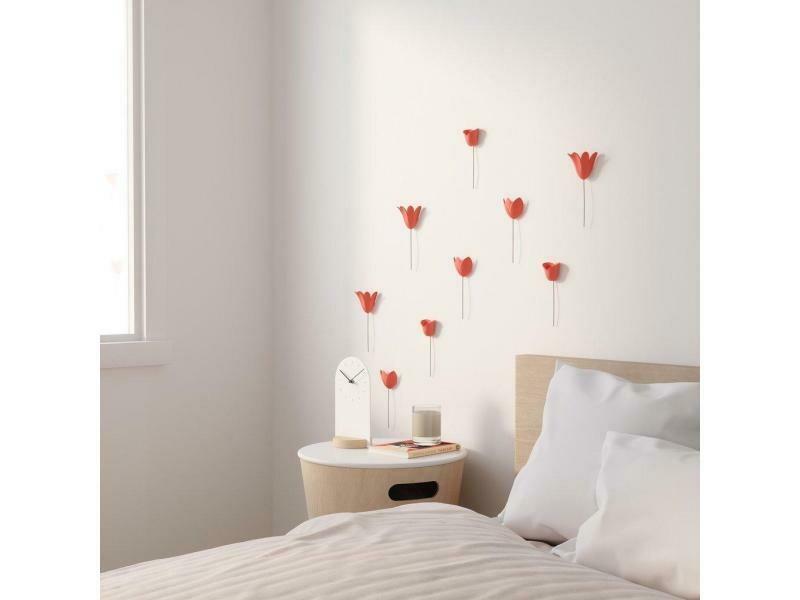 9 déco murales Tulipes corail