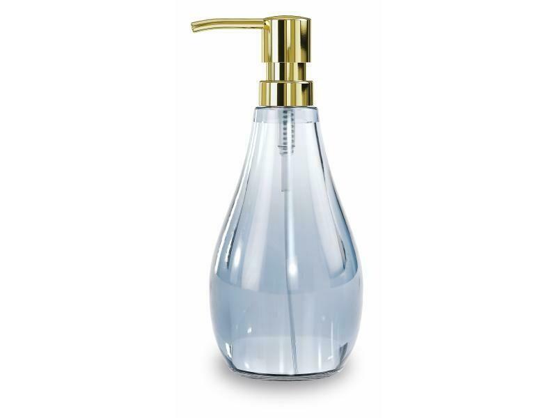Distributeur à savon en verre pour lavabo de salle-de-bain bleu