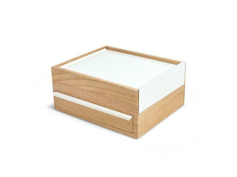Boîte à bijoux pleine de compartiments bois & blanc