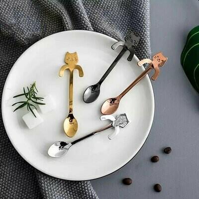 4 cuillères à café chat en métal