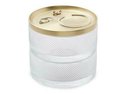 Boîte à bijoux  cylindrique verre & laiton doré