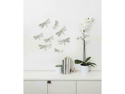 8 déco murales libellules en nickel