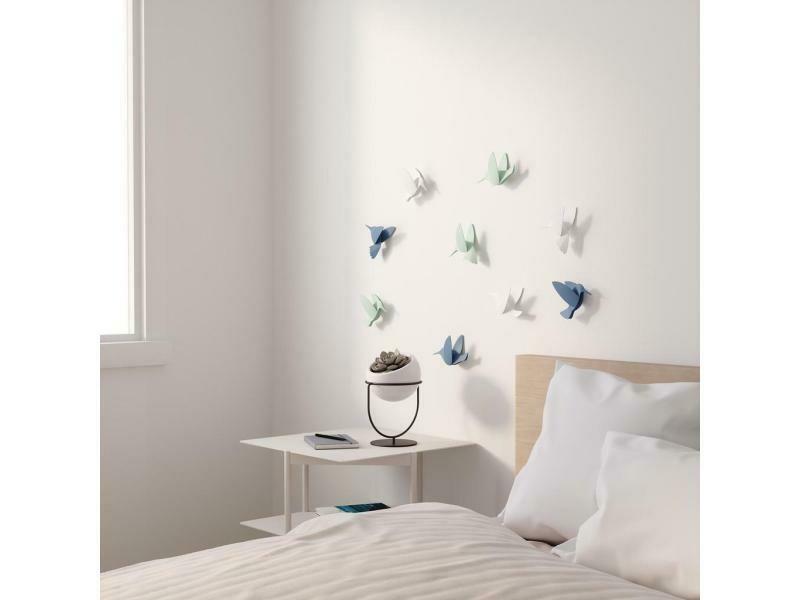 9 décos murales colibris blanc, pétrole, menthe ♥️