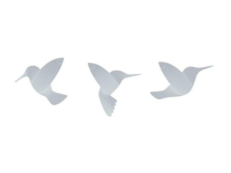9 déco murale colibris blancs