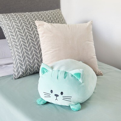 Coussin chat vert