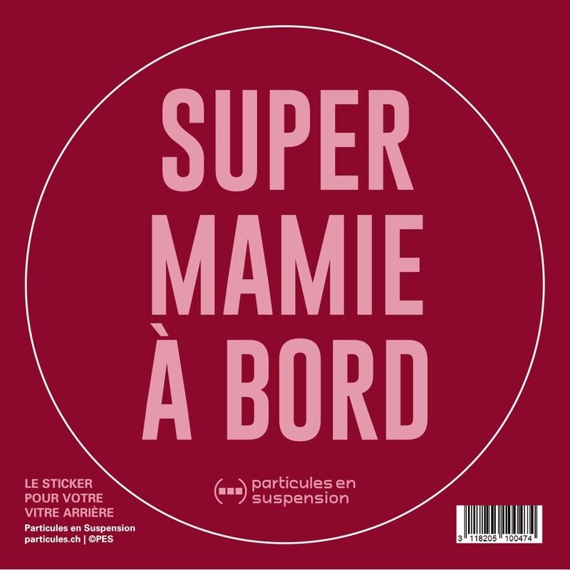 Sticker voiture Particules - Super Mamie à bord
