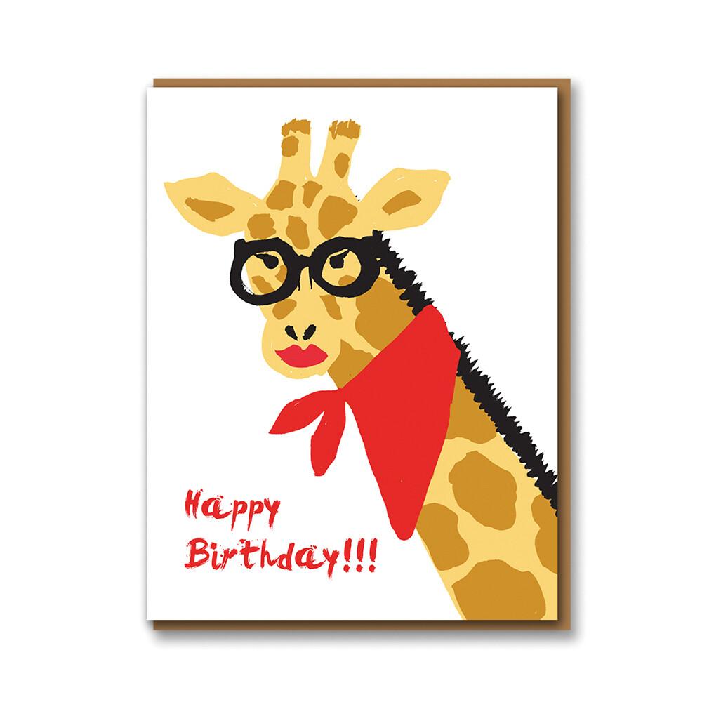 Carte double avec enveloppe - Girafe Happy Birthday