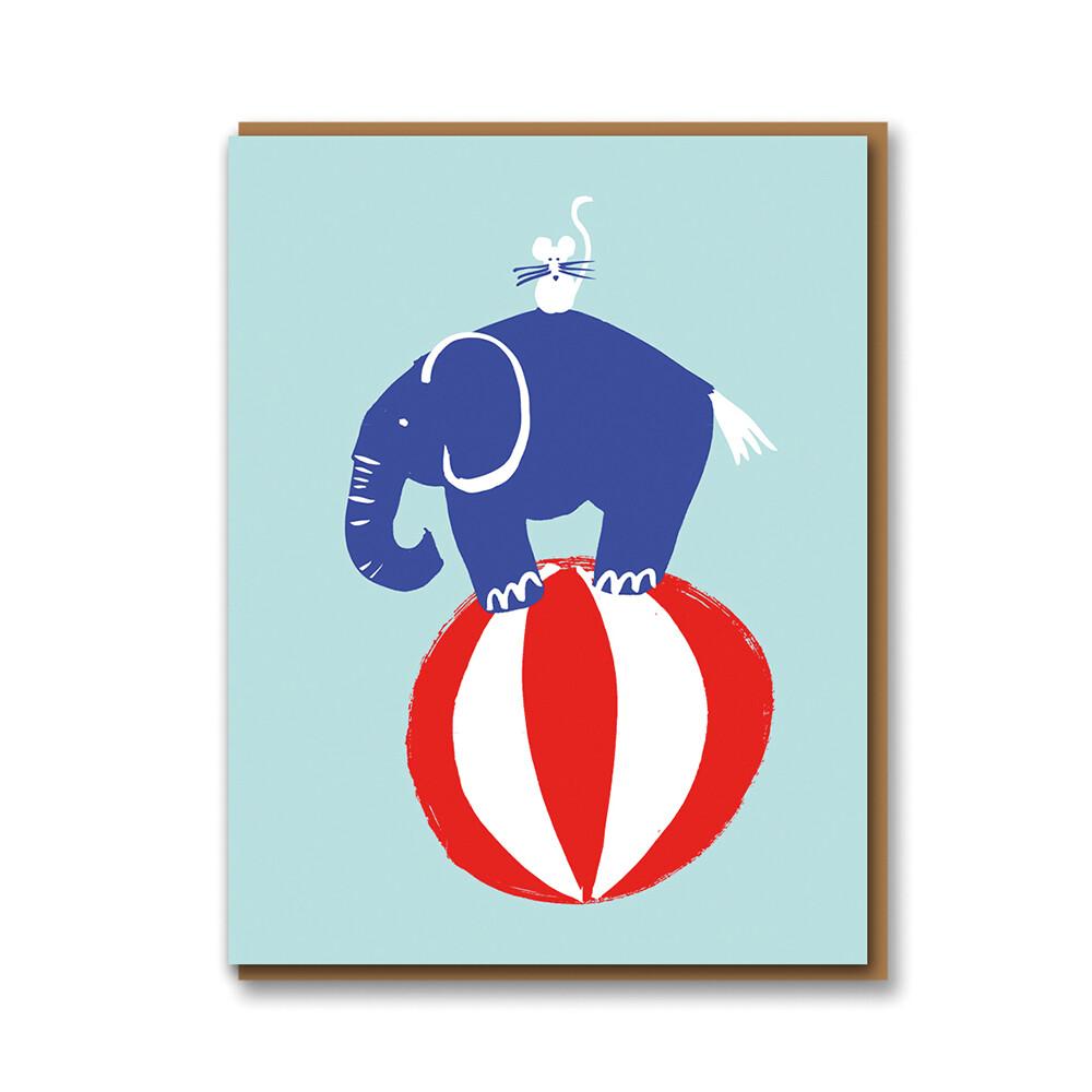 Carte double avec enveloppe - Éléphant sur ballon