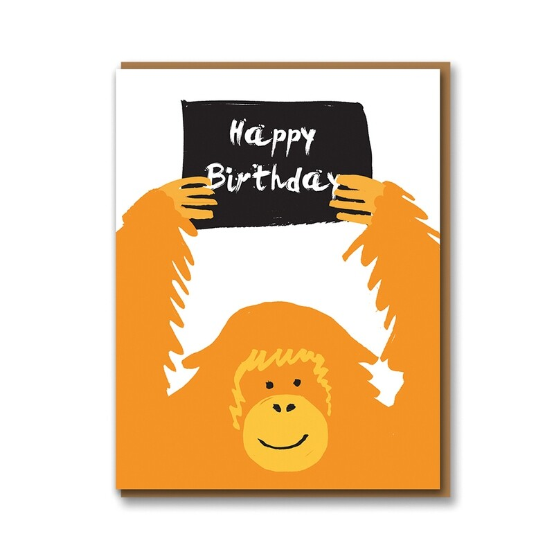 Carte double avec enveloppe - Gorille Happy Birthday