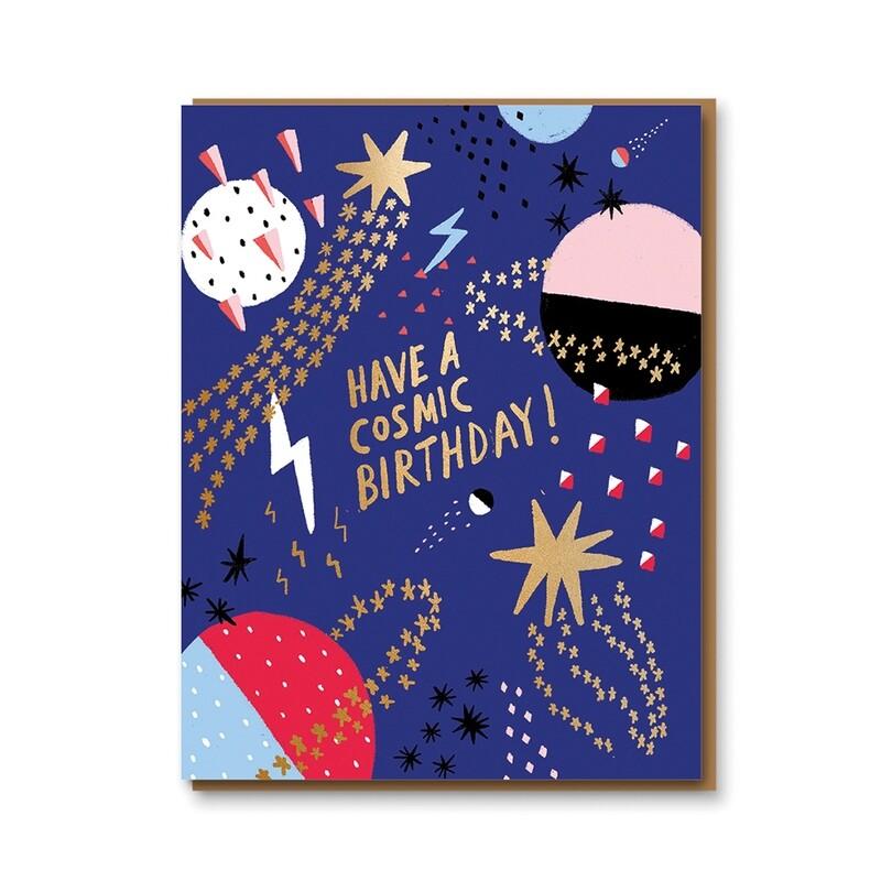 Carte double avec enveloppe - anniversaire cosmique - Carolyn Suzuki
