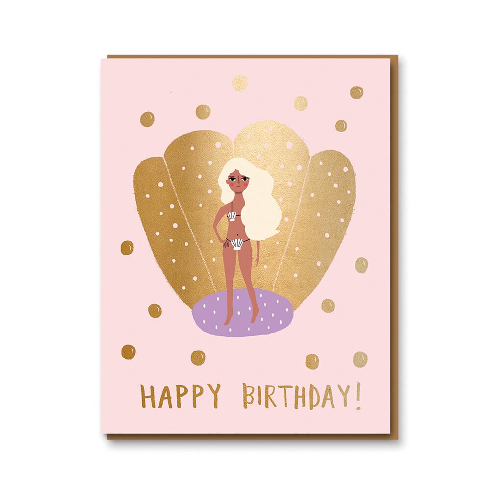 Carte double avec enveloppe - anniversaire sirène - Carolyn Suzuki
