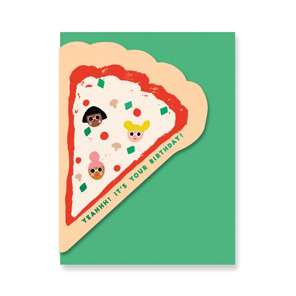 Carte double avec enveloppe - anniversaire pizza - Carolyn Suzuki