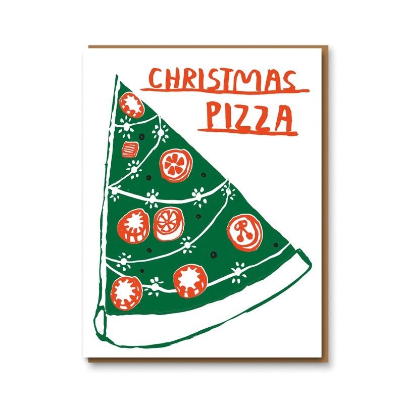 Carte double avec enveloppe - Noël pizza