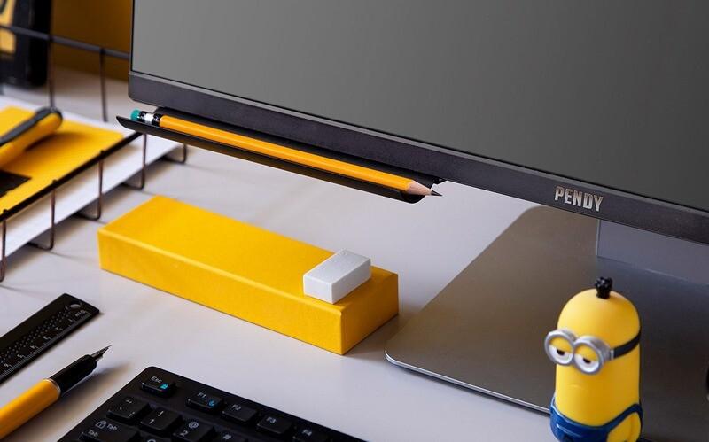 Porte-stylos adhésif pour écrans d'ordinateur - noir