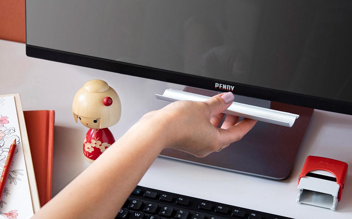 Porte-stylos adhésif pour écrans d'ordinateur - argent