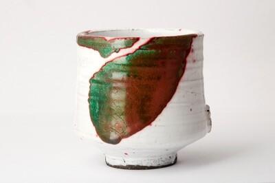 Tasse raku rouge, verte et blanche