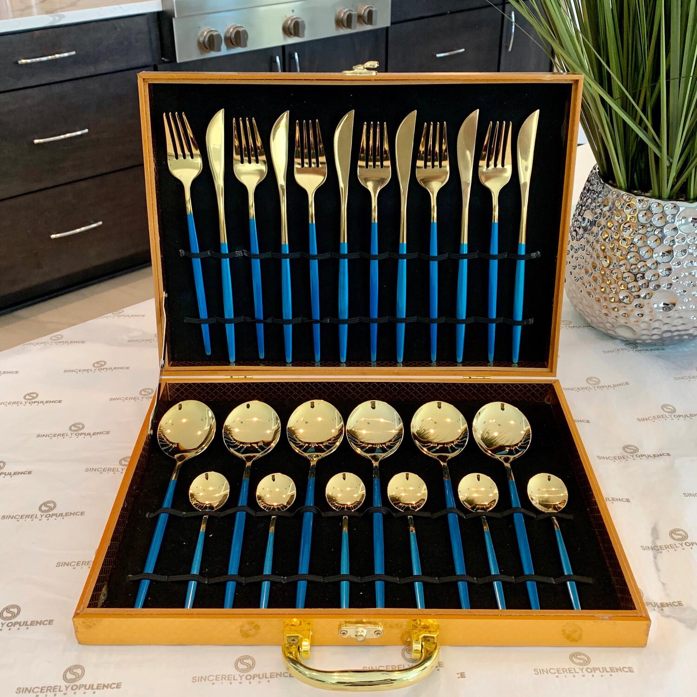 A Gentleman's 24pc Cutlery Set (Blue)