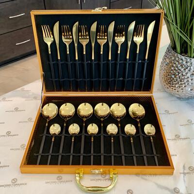 A Gentleman's 24pc Cutlery Set (Blk)