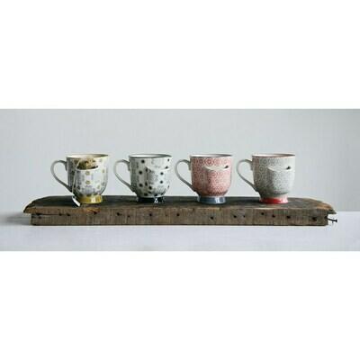 Hand Stamped Stoneware Mug