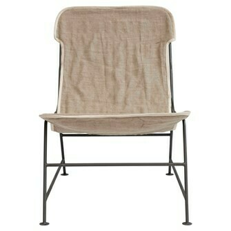Reclined Linen Sling Chair with Metal Frame